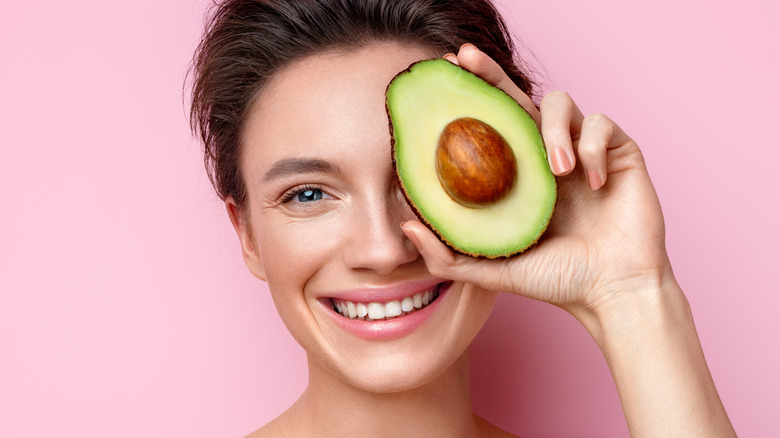 smiling woman avocado