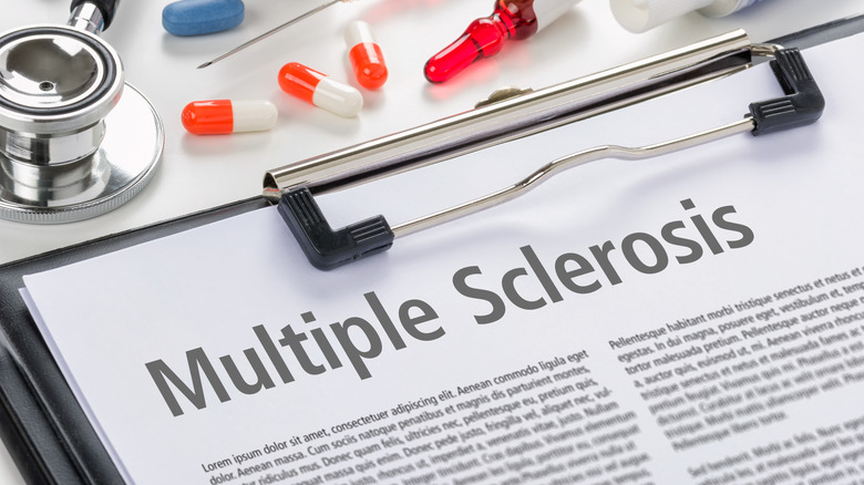 Clipboard with a paper that says Multiple Sclerosis
