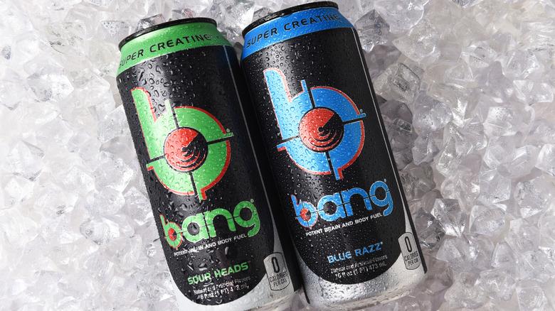 2 Bang energy drinks on ice