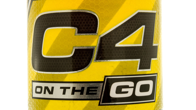 Close up of C4 energy drink label