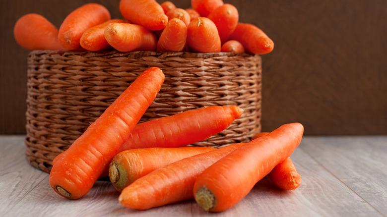 Carrots in a wicker basket