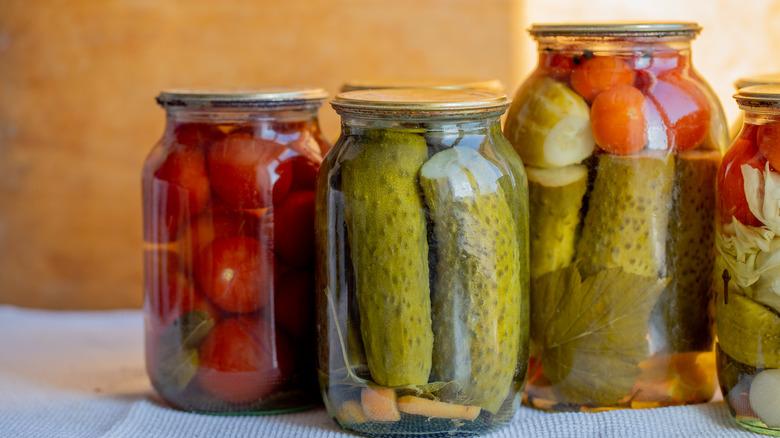 Glass jars of pickles
