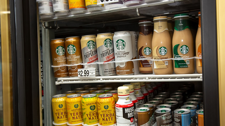 Fridge full of Starbucks energy drinks and other drinks
