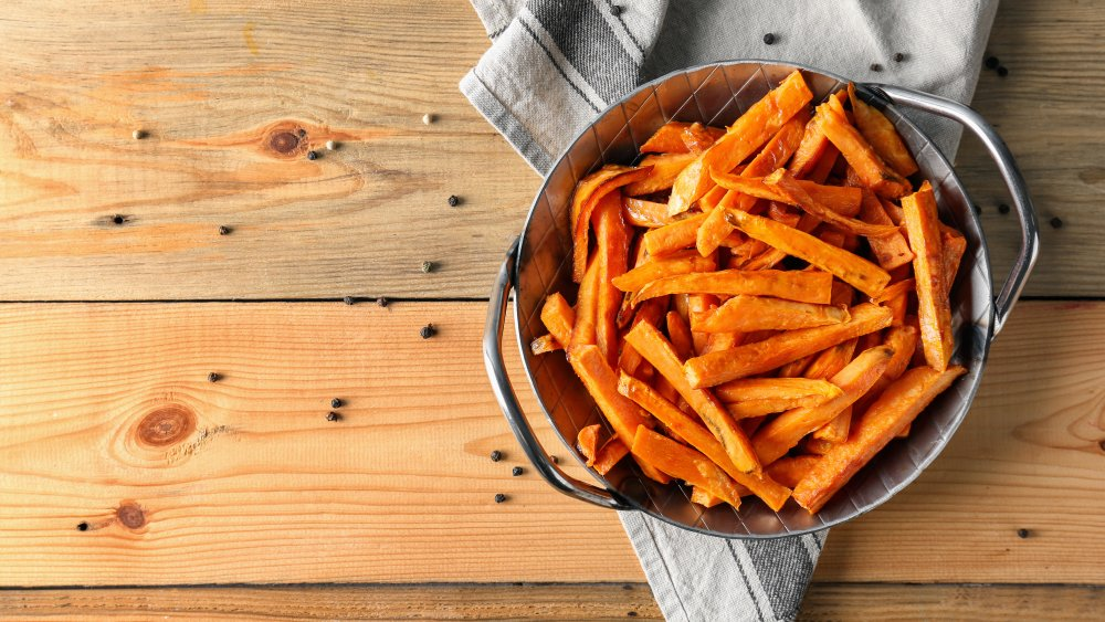 Sweet potato fries on a table