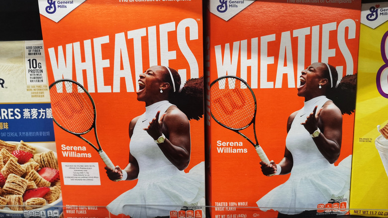 Two boxes of Wheaties with Serena Williams on the box