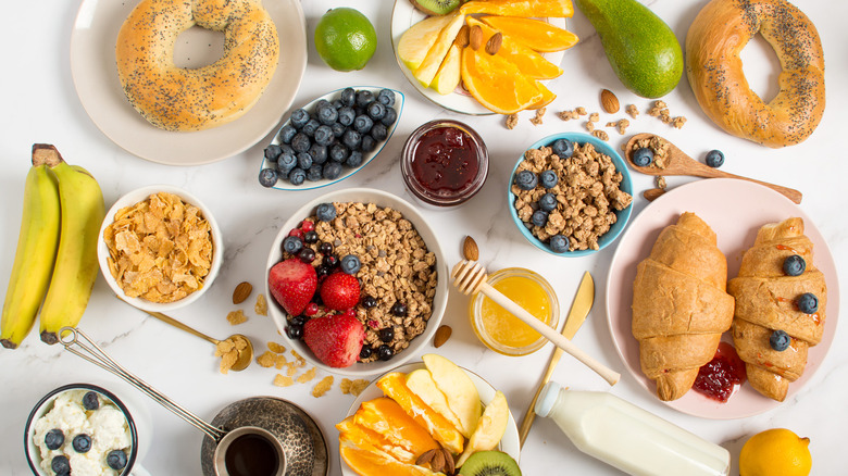 A spread of different kinds of breakfast foods
