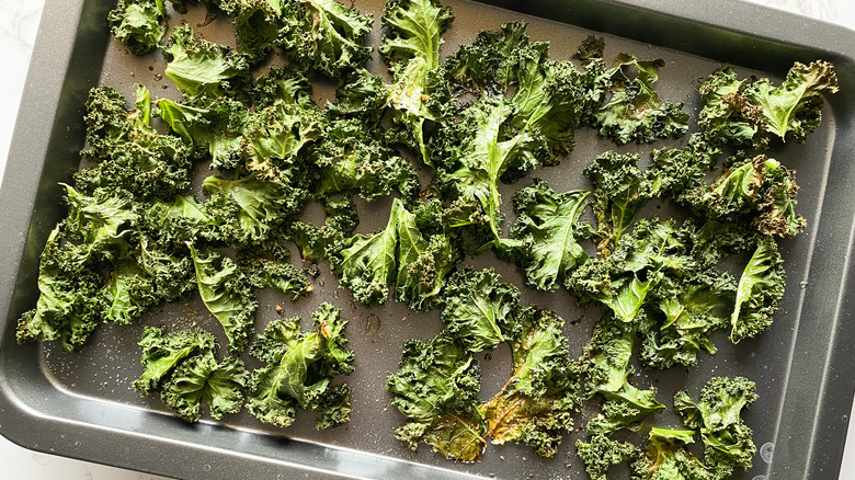 baked kale chips on pan