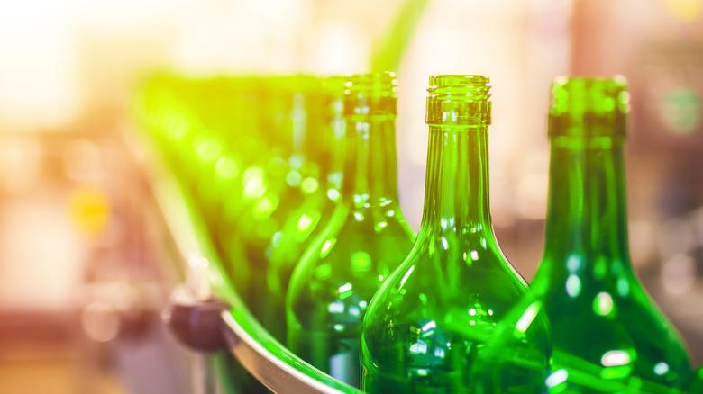 Bottles on a conveyor belt