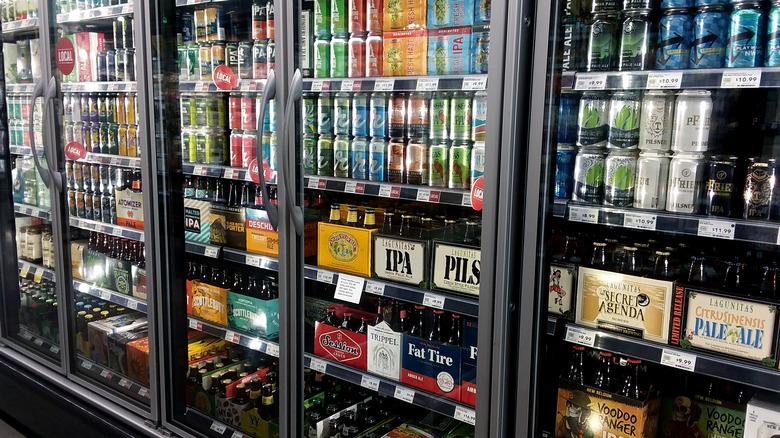 Beer and soda fridge in store