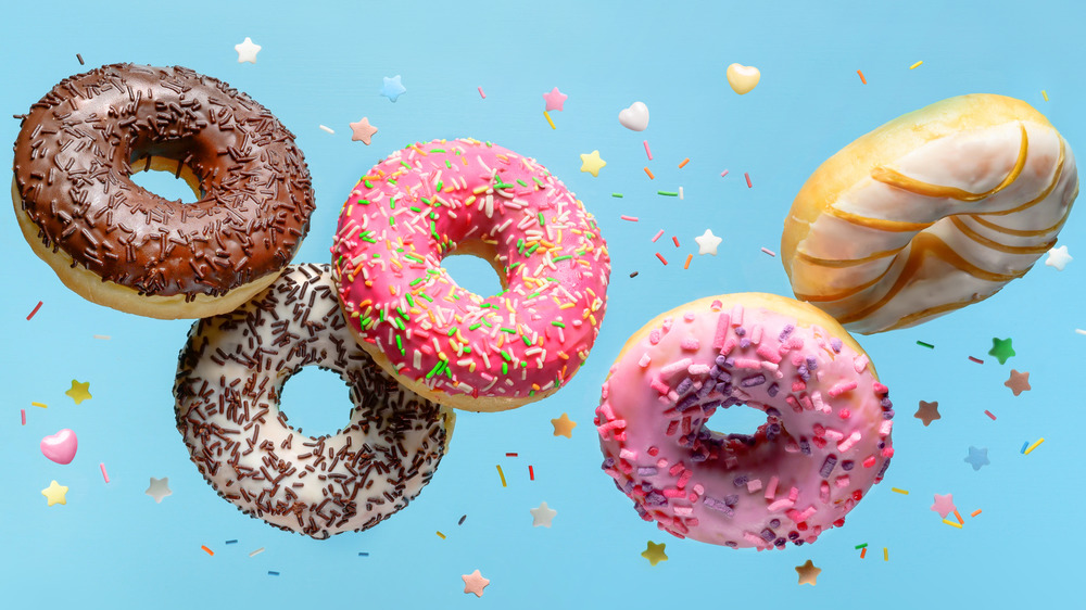 Flying donuts with blue background