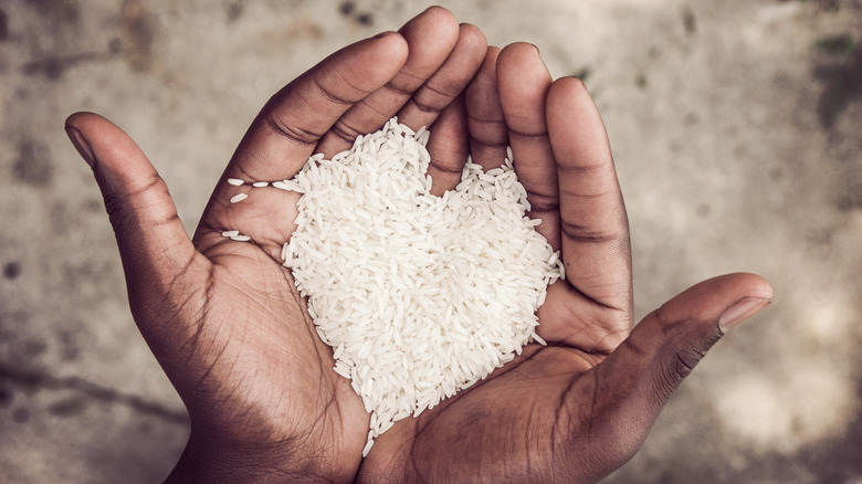 Hands holding rice in the shape of a heart