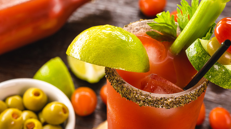 Close up of a bloody mary surrounded by ingredients and garnishes