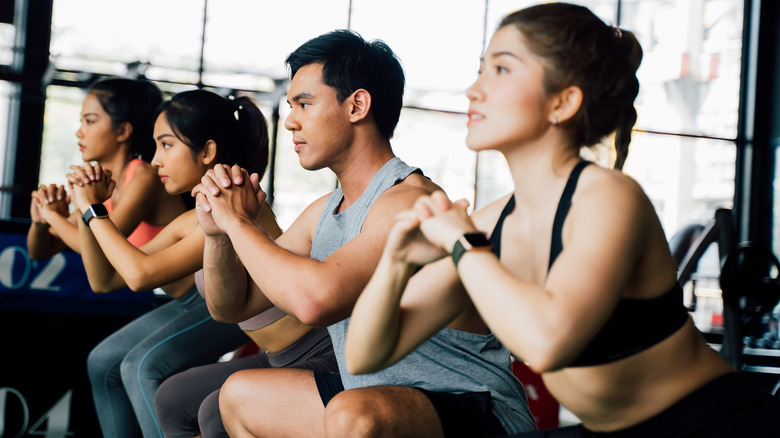 Group of people in a fitness class