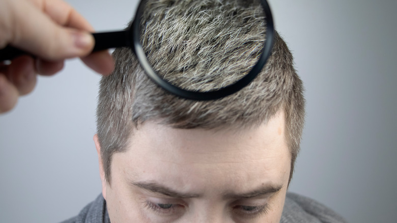 A magnifying glass examining a young man's gray hairs