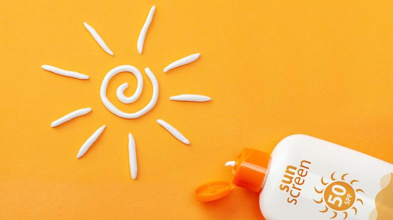 sun design made with sunscreen