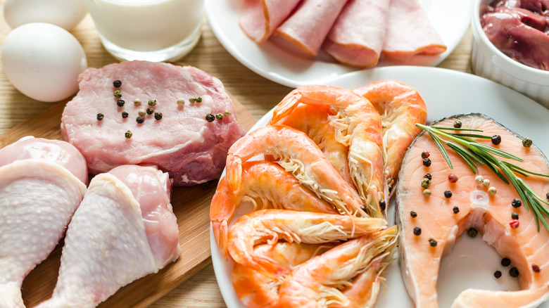Chicken, fish, and other high-protein foods