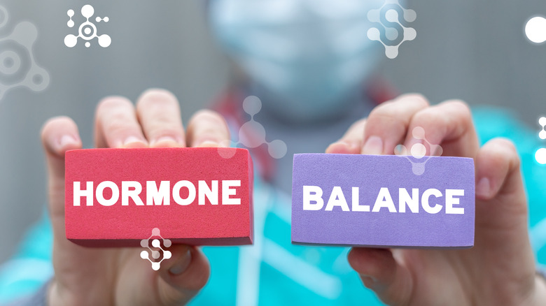 """Doctor holding sponges that say """"HORMONE BALANCE"""""""