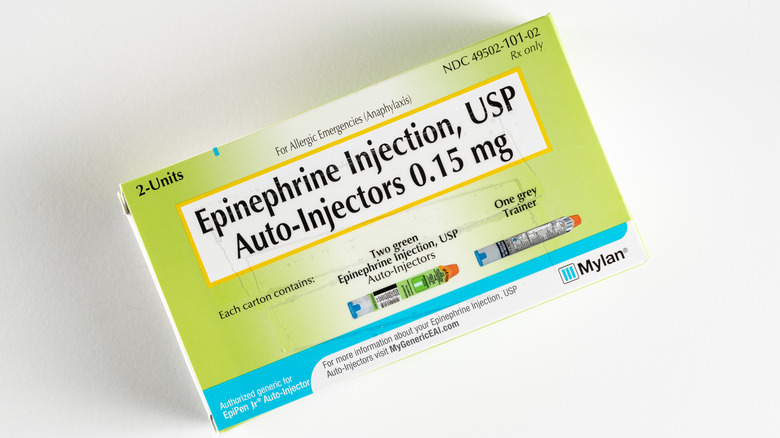 A boxed pack of two EpiPens