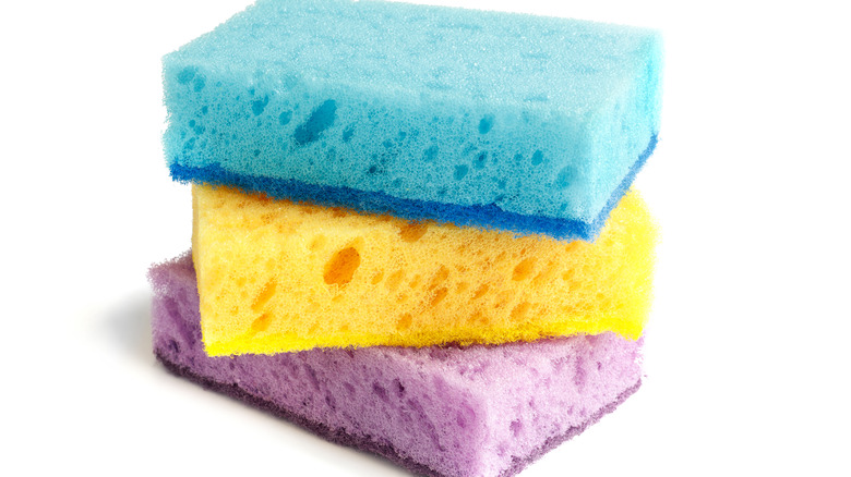colorful sponges stacked