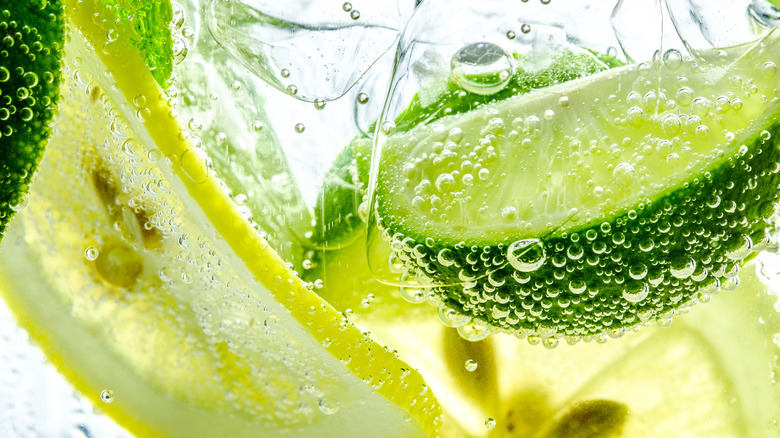 lemon and lime in fizzy sparkling water