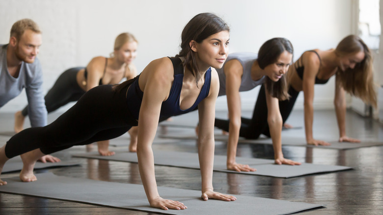 Group of people in plank pose