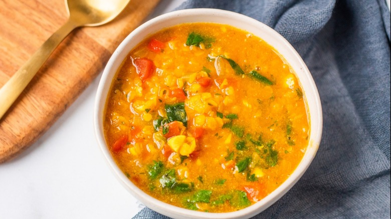 lentil curry soup served