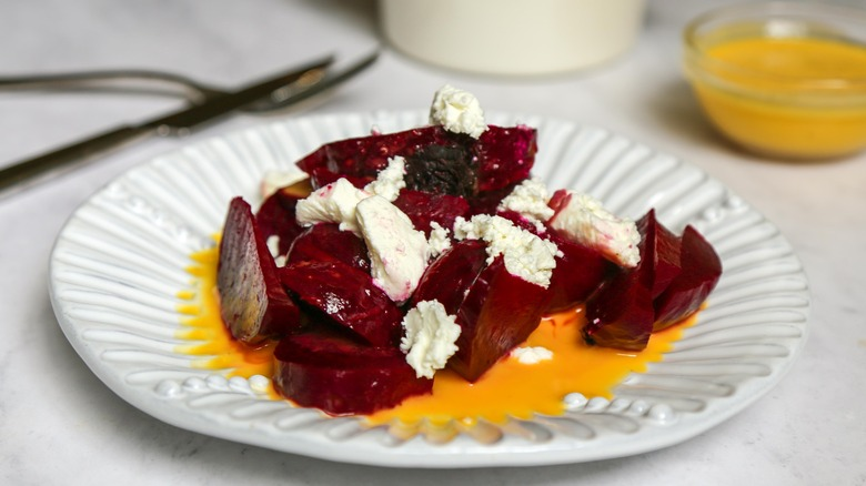 Easy Roasted Beets on a plate