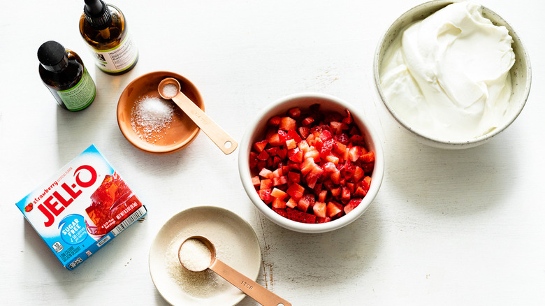 Ingredients for strawberry jello mousse