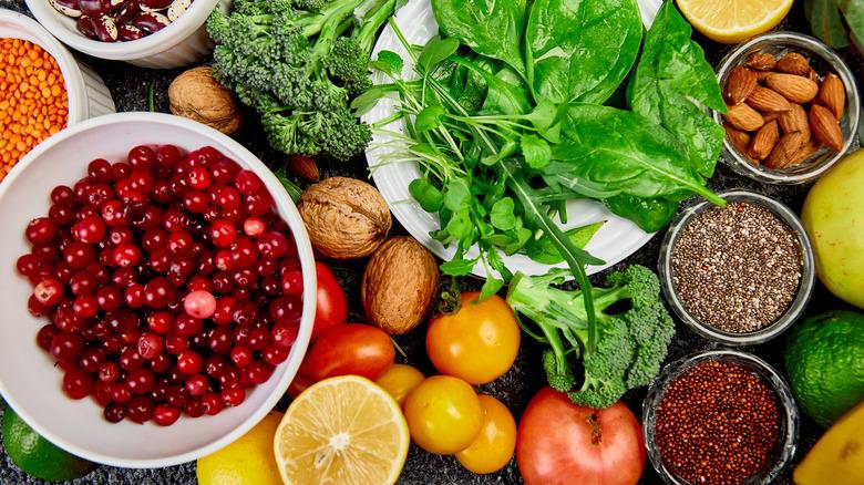 Healthy foods assorted