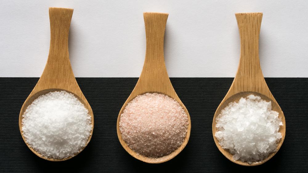 three types of salt on wooden spoons