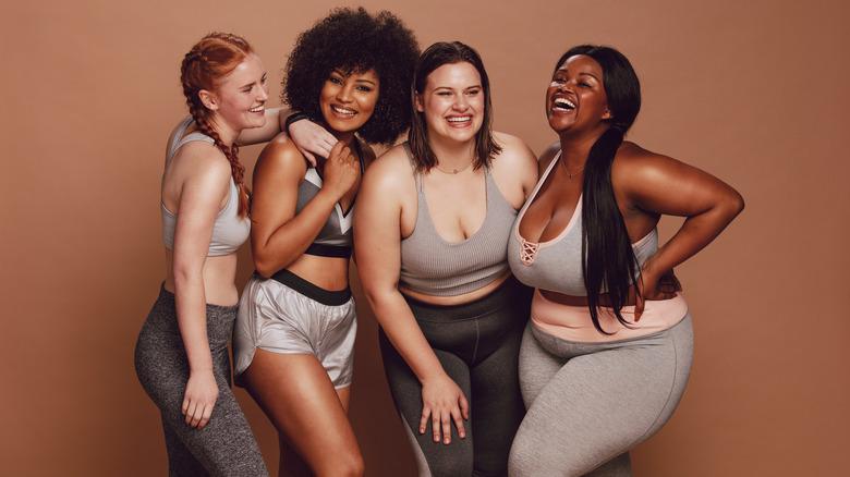 four diverse fit women