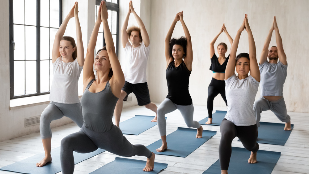 indoor group yoga class