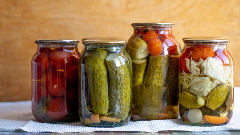 pickled foods in jars