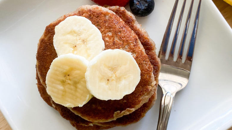 banana pancakes on a plate