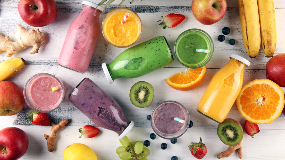 assortment of smoothies and fruit
