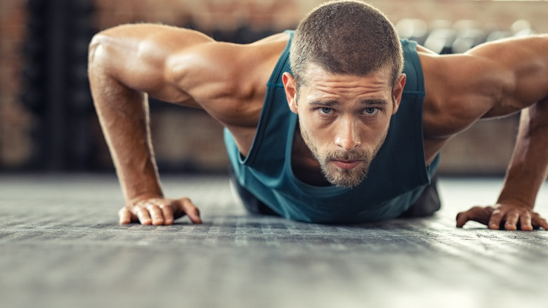 man doing pushups