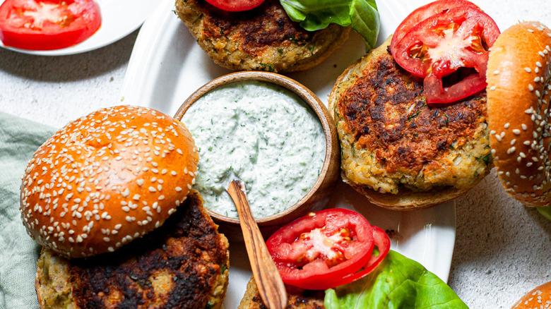 homemade falafel burger