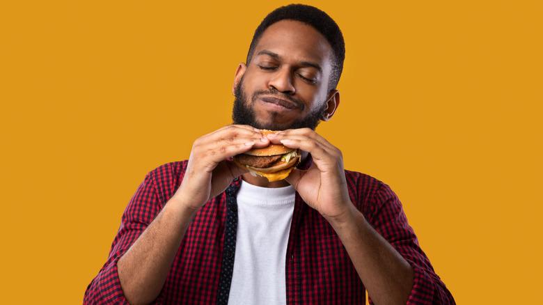 Man eating a burger