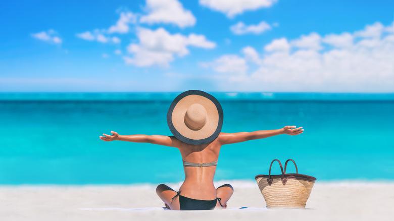 woman alone on beach