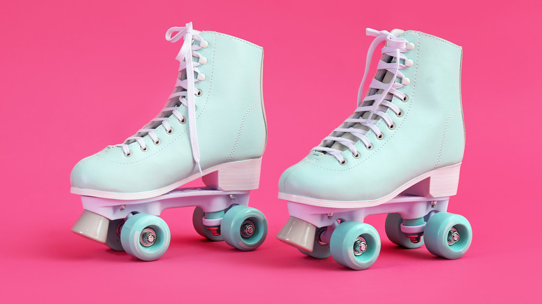neon colored image with roller skates