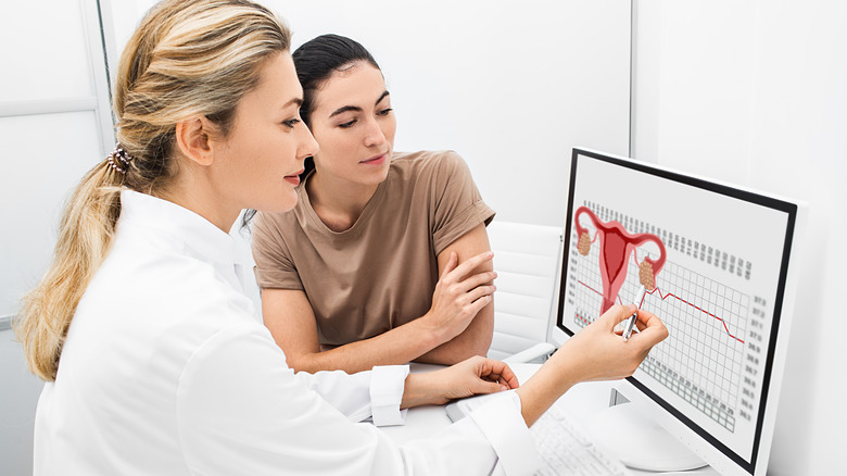 Gynecologist communicates with her patient, indicating the menstrual cycle on the monitor