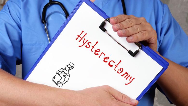 hysterectomy written on doctor clipboard