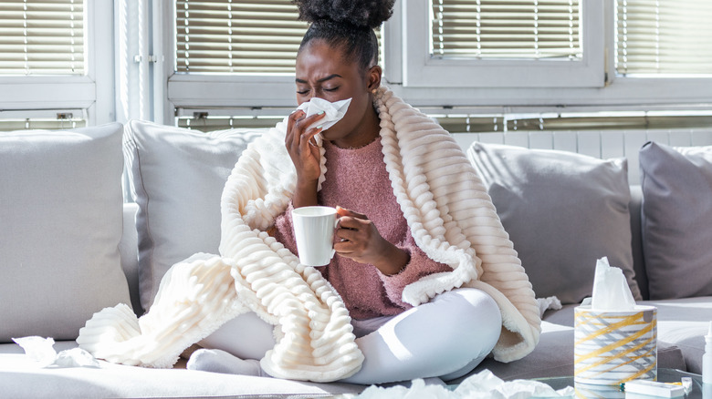 woman suffering with a cold