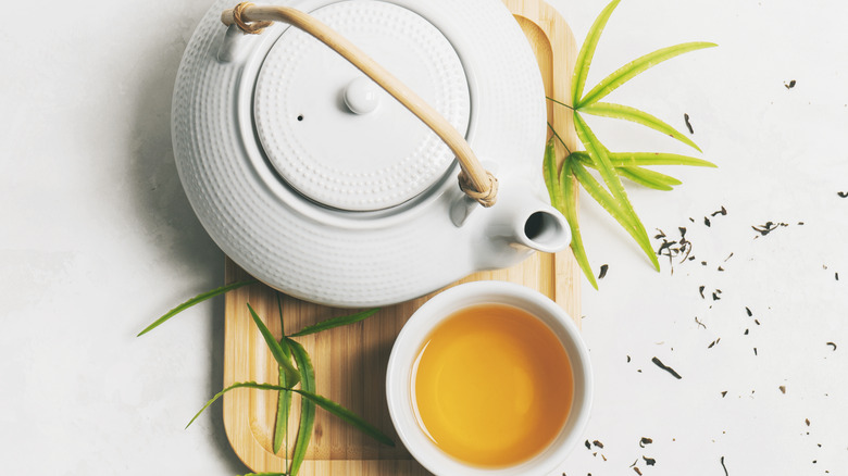 Green tea and kettle