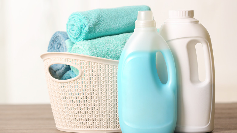 Laundry detergent basket and towels