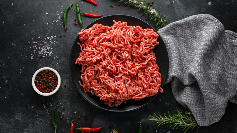 A plate of raw ground beef