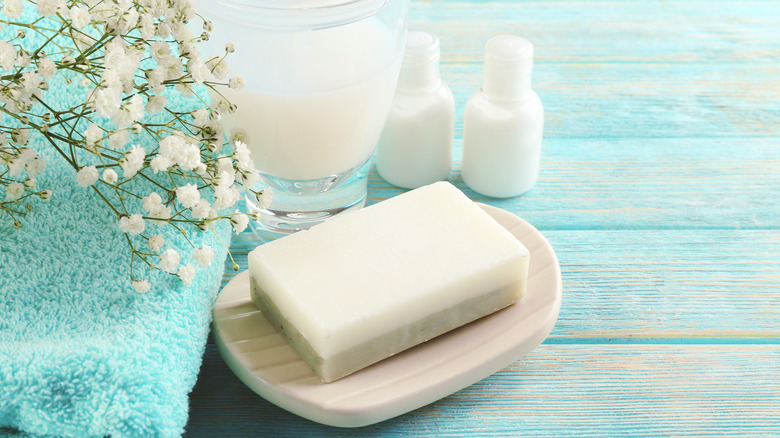 Bar soap on a soap dish