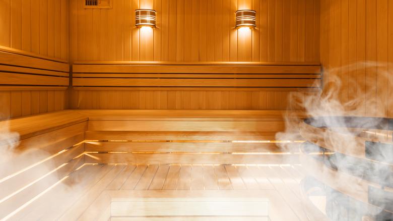 Interior of a wood sauna