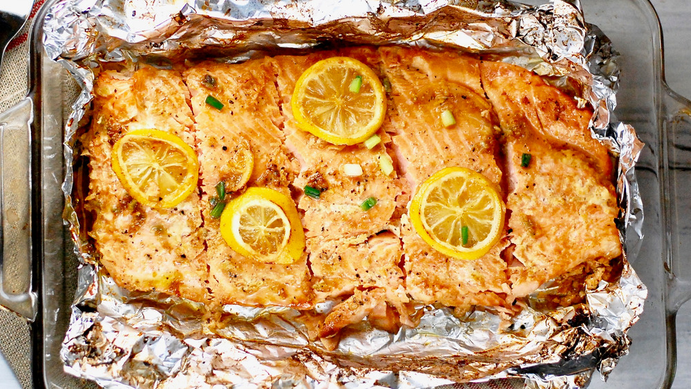 Baked Salmon in a foil lined dish