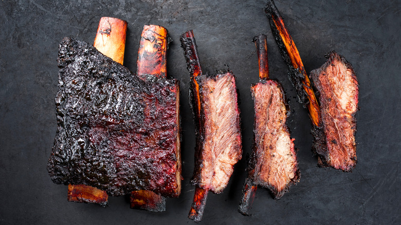 grilled, burnt ribs